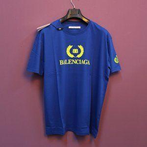 Balenciaga Saxe Blue Printed T-Shirt